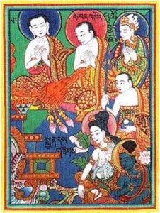 Detail from Tibetan mandala of patriarchs of medicine. (Jīvaka is in the far upper right corner).